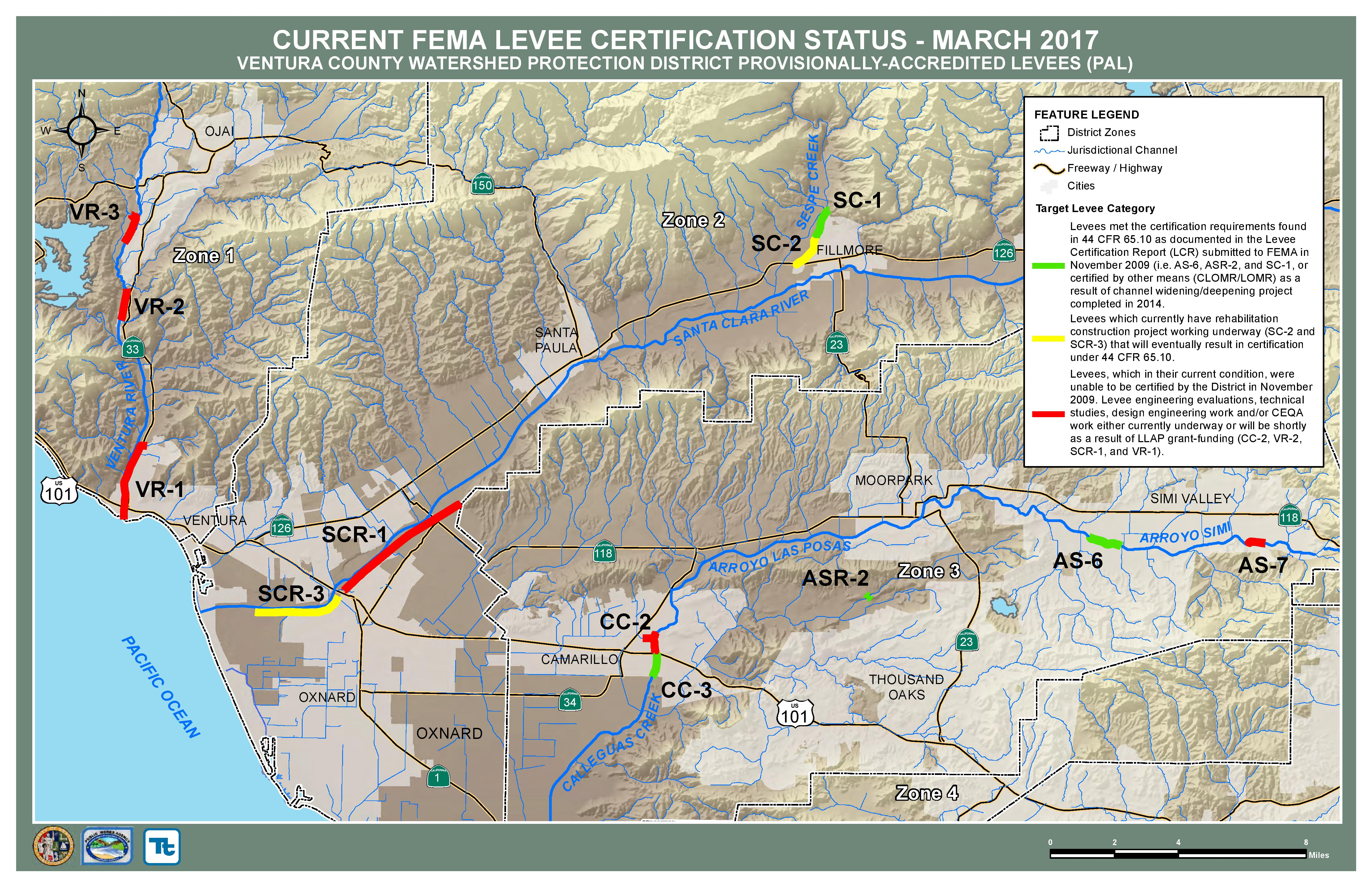CURRENT FEMA LEVEE CERTIFICATION STATUS - MARCH 2017